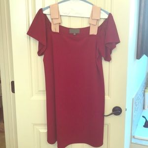 Red off the shoulder bow dress